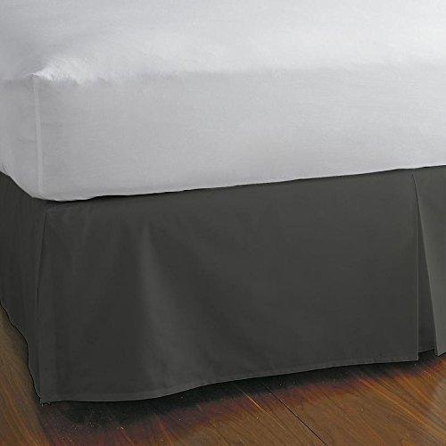 Alluring Linen Luxury 600 Thread Count 1-Pieces Split Corner Bed Skirt 24 Inch Drop Length 100% Natural Cotton, Fade Resistan (Dark Grey Solid, Cal King 72x84) (Short Alluring)