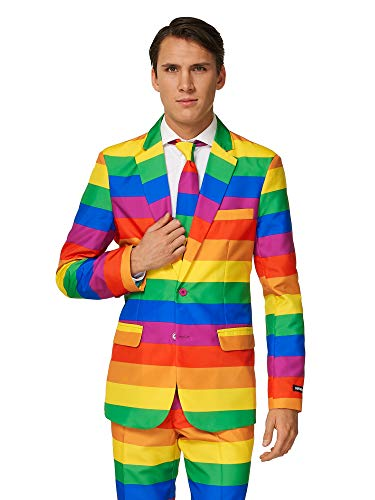 Pimp TigSuitmeister Suits for Men Comes with Jacket, Pants and Tie with Fun Prints er Rainbow ()