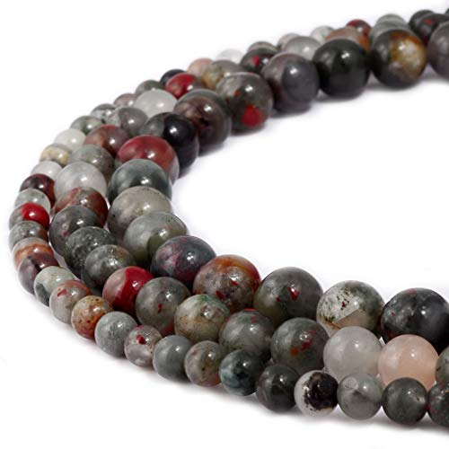 Natural African Fancy Jasper Gemstone Beads Round Loose Beads Fit Bracelet Earring Necklace DIY Handmade Charms Spacer Beads Jewelry Making Findings 15 inch 1 Strand 8MM