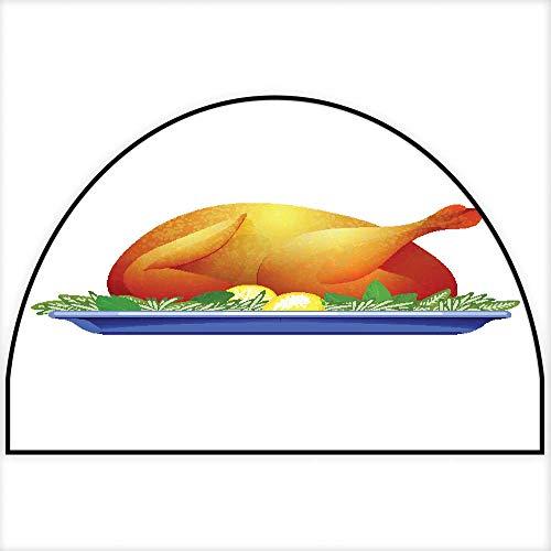 Hua Wu Chou Half Round Kitchen mathalf Round Door mat Outdoor W31 x H20 INCH Garnished Roasted Turkey on Plate