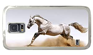 Hipster Samsung Galaxy S5 Case leather cover White Horse PC Transparent for Samsung S5