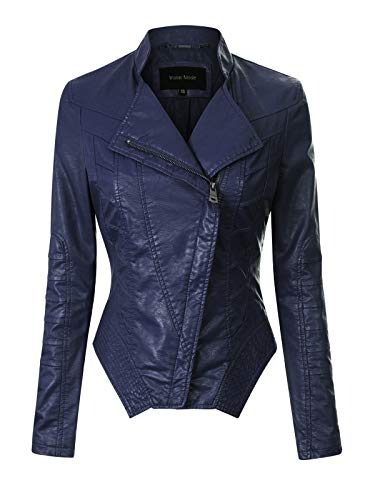 (Instar Mode Women's Fashion Motorcycle Asymmetrical Cropped Faux Leather Jacket Navy Blue)