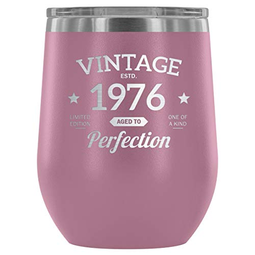 1976 42nd Birthday Gift Vintage Year for Women and Men 12 oz Wine Tumbler Cup - Vintage Aged To Perfection - Wedding Anniversary Gift Idea for Him, Her, Parents