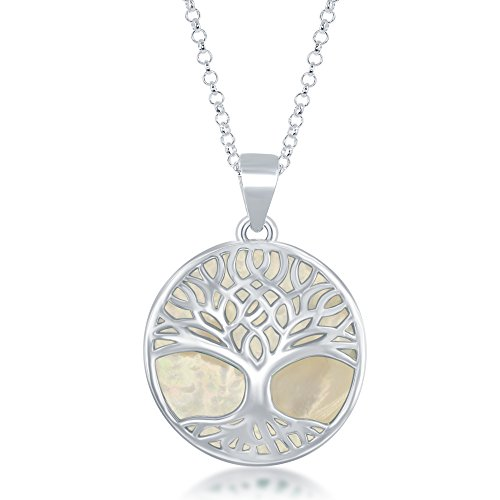 Beaux Bijoux Sterling Silver Natural Mother-of-Pearl Stone Tree of Life Circle Pendant with 18