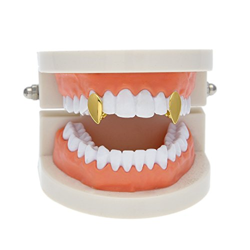 - HongBoom Hip Hop Bling Bling Vampire Teeth Fangs Grillz Caps Top & Bottom Gold Plated Dental Grill Set (Two Gold)