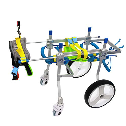 SURPCOS Adjustable Dog Pet Wheelchair, Front/Hind Legs Rehabilitation, 2 Wheels / 4 Wheels Dog Cart Wheels (4 Wheels-S)