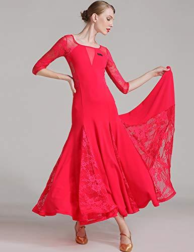 Vestito Donne Ballo Indietro Red Zhhlaixing Prom Standard Design Moderno Vestiti Girocollo Liscio Da Tango Per Pizzo qxwAt0Xw