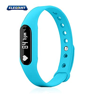 Fitness Tracker, ELEGIANT Smart Bracelet Wireless Activity Wristband Sports Watch Bluetooth For Android IOS With Steps Tracking Calories Burned Sleep Monitor Heart Rate etc. Blue-NEW