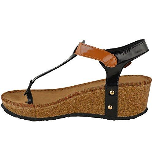 Mote Tørst Kvinner Kile Komfort Sandaler Polstret Flip Flops I Fots Sko Størrelse Svart Patent