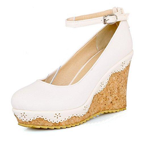 Allhqfashion Donna Tacco Alto Rotondo Punta Chiusa Scarpe Con Fibbia-scarpe, Bianco, 34