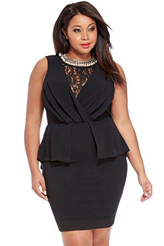 NEW Mesdames noir taille plus robe en dentelle dos péplum Bureau Soirée Soirée Robe occasion spéciale Taille XXXL UK 20–22EU 48–50