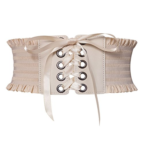 GRACIN Women's Stylish Buckle Elastic Wide Corset Waistband Belt with Ribbon (One Size, Beige) Buckle Wide Corset