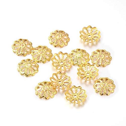(Gold Filigree Metal Daisy Flower Bead Caps for Jewelry Making (10mm))