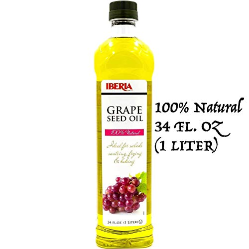 Iberia Grapeseed Oil, 34 Fl Oz, 100% Pure Grape Seed Oil, Natural & Cold Pressed Grape Seed Oil from Spain, Artisanal Grapeseed Oil for Cooking, Frying, Baking, 1 Liter, Kosher ()