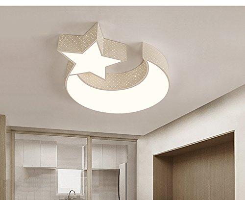 LYXG Luces LED lámpara de techo de niños y niñas Luna estrellas dormitorio estudio creativo luz niños arte luz de lámparas de hierro (550mm*70mm), ...