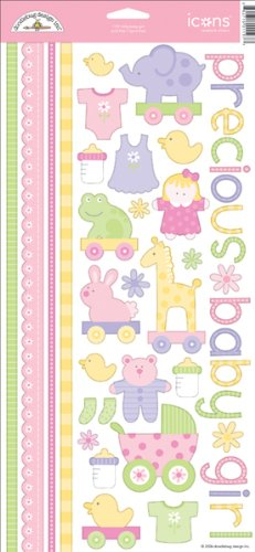 Doodlebug Cardstock Stickers, Borders & Tags 6 Inch X12 Inch Sheet-Baby Girl Bitty