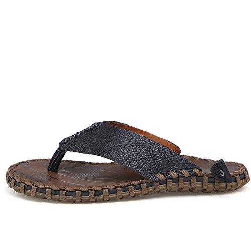 Boys Flip Summer Beach Strap Flops Slippers Leather TDA Casual Black Men's wIpZxwF