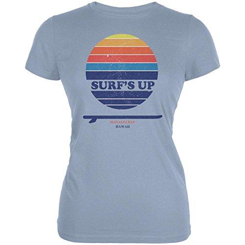 Hanalei Bay Surf - Surf's Up Hanalei Bay Hawaii Juniors Soft T Shirt Light Blue LG