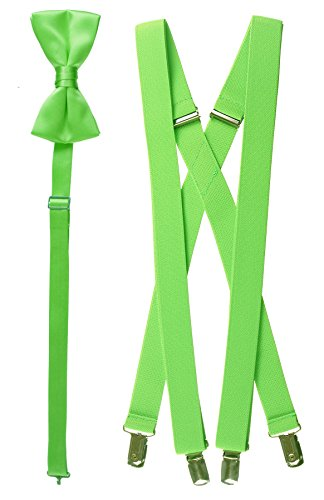 Tuxgear Mens Bow Tie and Suspender Set Combo, Lime, Men's 48 Inch (48