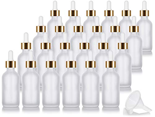 2 oz Frosted Clear Glass Boston Round Bottle with Gold Metal and Glass Dropper (24 pack) + Funnel for Essential oils, Aromatherapy, E-liquid, Food grade, BPA free
