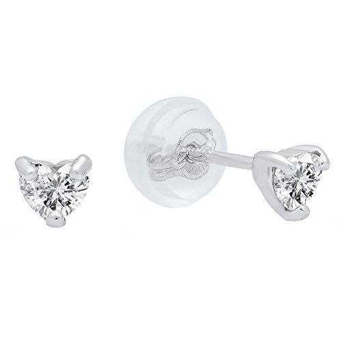Diamond 18k White Gold Heart Ring - 8