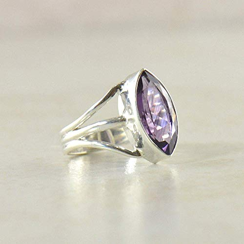 SIVALYA Designer Amethyst Gemstone Ring for women in 925 Sterling Silver - Size 8.5 - Great Gift for Her