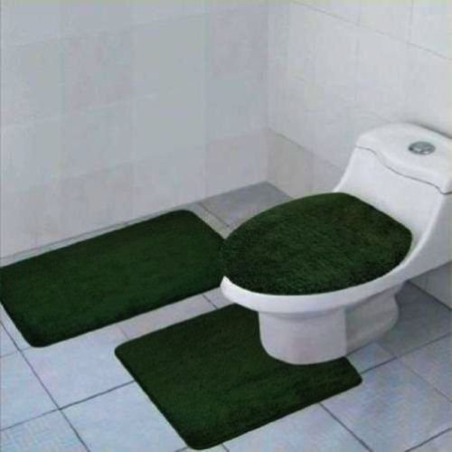 3 Pieces Solid Bathroom Rug Set Bath Mat Contour Rug Toilet Lid Cover Soft Luxurious Material (Hunter Green) (Hunters Set Bathroom)