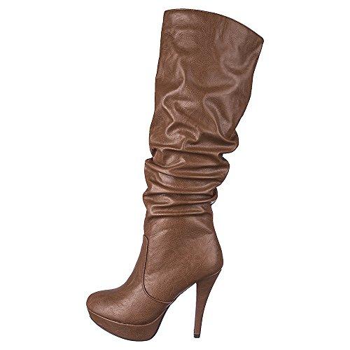 Wellustige Vrouwen Slouchy Kniehoge Platform Naaldhak Laarzen Met Onderzijde Rits Kameel Kunstleer