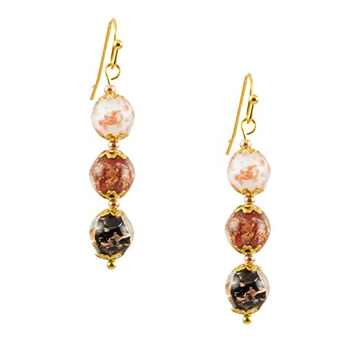 Just Give Me Jewels Genuine Venice Murano Sommerso Aventurina Glass Bead Dangle Three Bead Earrings-Multi Color … by Just Give Me Jewels
