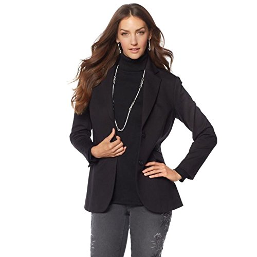 DG2 Diane Gilman Stretch Ponte Boyfriend Blazer Long Sleeve Black XL New 560-470