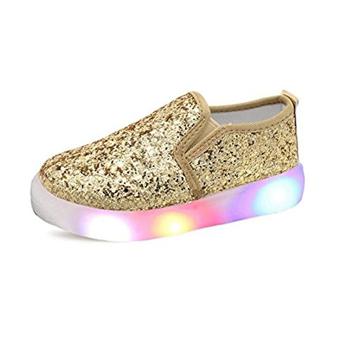 (USANDY Girls' Light Up Sequins Shoes Slip-on Flashing LED Casual Loafers Flat Sneakers (Toddler/Little Kid) Gold US 11.5M)