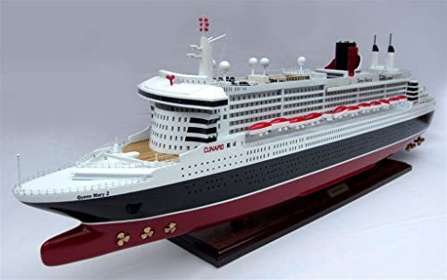 Modellschiff QUEEN MARY II, Schiffsmodell aus Holz, Handarbeit, Spantenbauweise, Modell;