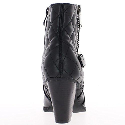 Botas negras alineado con tacón grueso de varilla de 8cm en parte acolchada