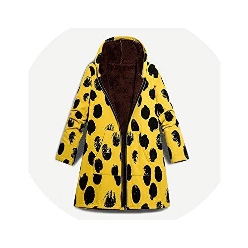 Winter Women et Coat Hooded Dot Print Thick Fleece Warm Parka 5XL Plus Size Top Overcoat,Yellow,XXXL ()