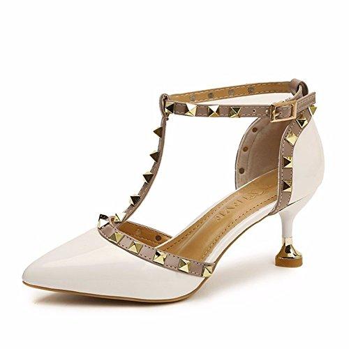 Solo Zapatos Hueca Remaches White Zapatos Anillo De Señaló Mujer Mujer Pie Botón YUCH De n4HTxBv