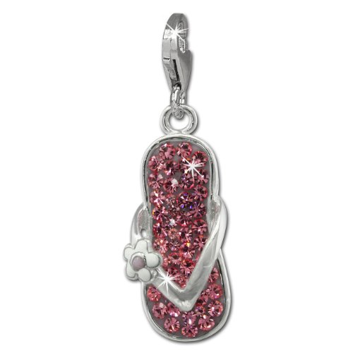 SilberDream Glitter Charm flip flop with pink Czech crystals, white and purple enameled flower 925 Sterling Silver Charms Pendant for Charms Bracelet, Necklace or Earring GSC563A