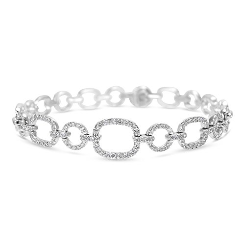 18KT White Gold Alternating Circles & Squares Link Bracelet 2.11 ctw (Link Circle Square)