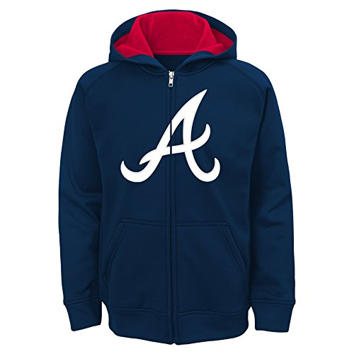 MLB  Atlanta Braves Youth Boys 8-20 Team Logo Full Zip Hood-L (14-16)