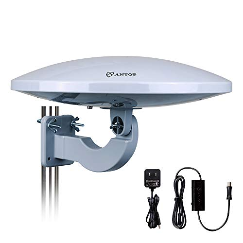 Outdoor HDTV Antenna - Antop Omni-Directional 360 Degree Reception Antenna Outdoor, Indoor, Attic, RV Used, 65 Miles Range Amplifier Booster 4G LTE Filter, DIY Handy Install 【Mid-Year Updated Version】 (Best Mid Range Tv 2019)