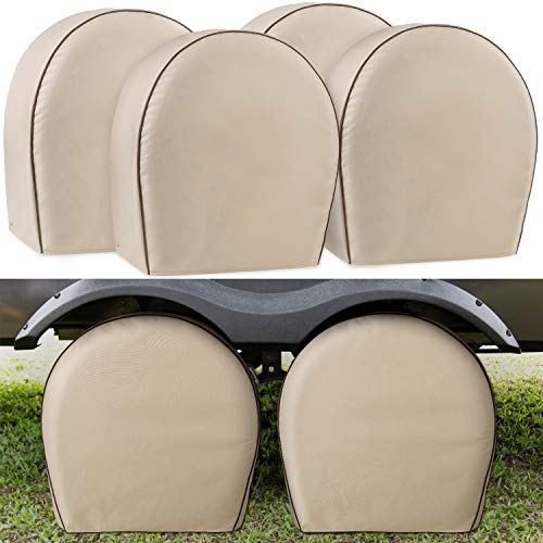 Leader Accessories 4-Pack Tire Covers Fits 24″-26.5″ Diameter Tires Heavy Duty 600D Oxford Wheel Covers, Waterproof PVC Coating Tire Protectors for RV Trailer Camper Car Truck Jeep SUV Wheel, Tan