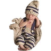 Eyourhappy Baby Newborn Handmade Crochet Knitted Photography Props Boy Stripe Hat Pants Overalls