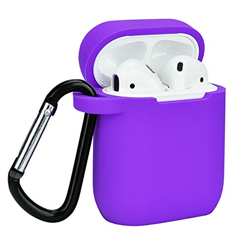 Airpods Case, Coffea AirPods Accessories Shockproof Case Cover Portable & Protective Silicone Skin Cover Case for Apple Airpods 2 &1 (Front LED Not Visible) - Purple