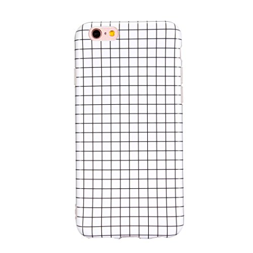 Pattern White Case (iPhone 6 Plus case, Samyoung Flexible TPU Case with Grid Pattern Anti-Scratch Anti-Fingerprint Shockproof for iPhone 6 6s Plus ( 5.5 inch) - White)
