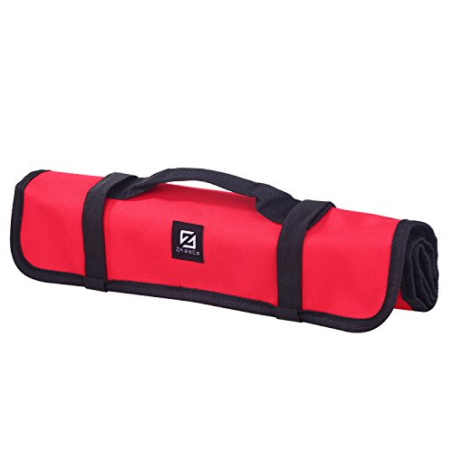 ZhaoCo Tool Roll Pouch, Tool Roll Bag 29 Pockets Socket - Wrench Roll Up Tool Bag Kit, Rolling Organizer, Tool Storage Tote for Garden Tools, Electricians and Mechanics - Red by ZhaoCo