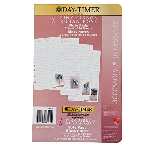 - Day-timer® Organizer Accessory, Pink Ribbon Note Pad, 5 1/2