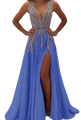 Sequined Maxi Party Dress Blue Sleeveless Domple Split Women's Sexy pqwO5S4