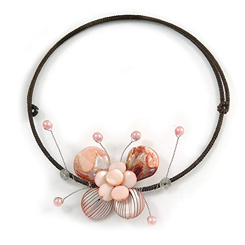(Avalaya Pastel Pink Sea Shell Butterfly Pendant with Flex Wire Choker Necklace - Adjustable)