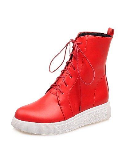 Rojo Cn34 Uk7 Anfibias Rosa us5 Eu35 Blanco Semicuero Red Botas Cn41 De us9 Uk3 Plataforma Mujer Pink Zapatos Xzz Eu40 Puntiagudos Casual Negro XvP1Tqn