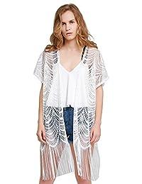 MissShorthair Women's Light Floral Print Chiffon Kimono Cardigan Coverup Blouse Tops