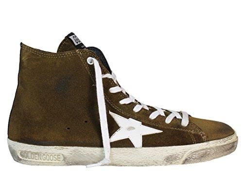 Golden Goose Hi Top Sneakers Uomo G30MS591A56 Camoscio Bianco/Marrone